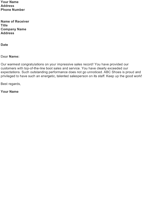 Compliment Letter Sample Download FREE Business Letter Templates