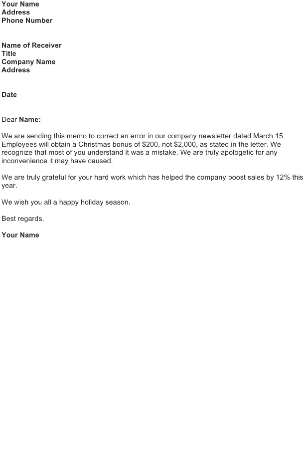 Correction Letter Sample   Download FREE Business Letter Templates