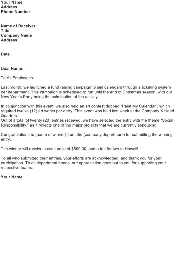 Contest Winner Announcement Letter
