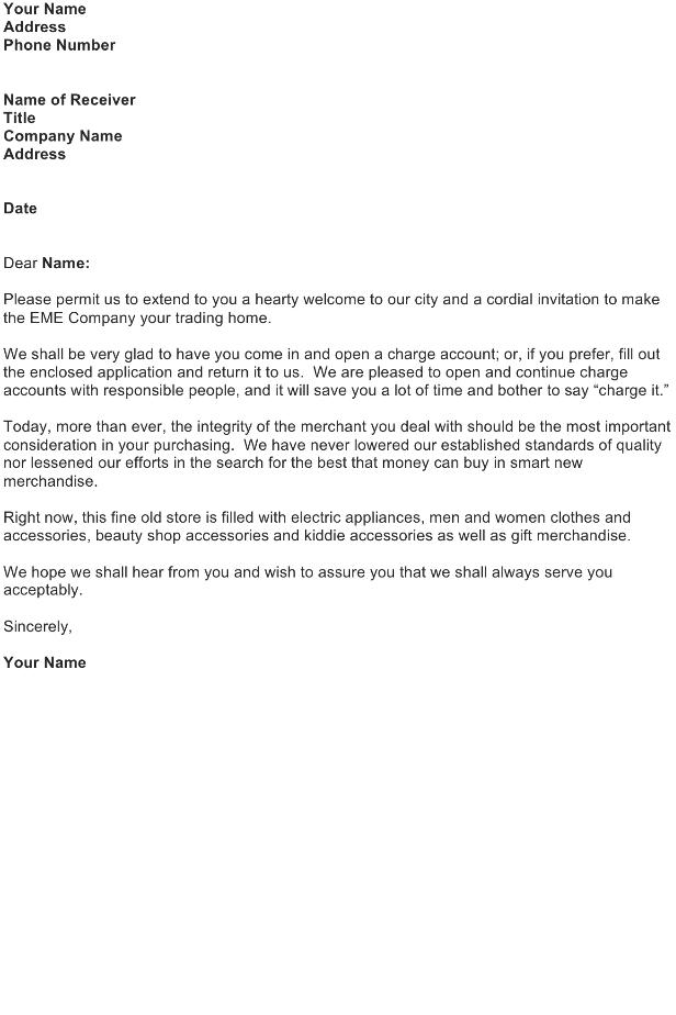 Credit Account Invitation Letter
