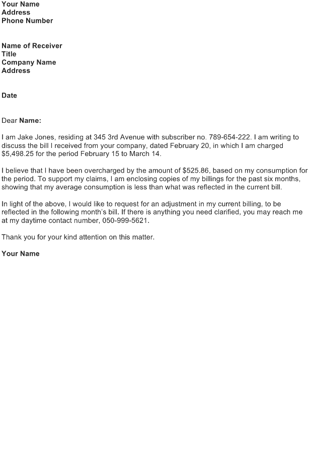 Dispute Letter Sample - Download FREE Business Letter Templates