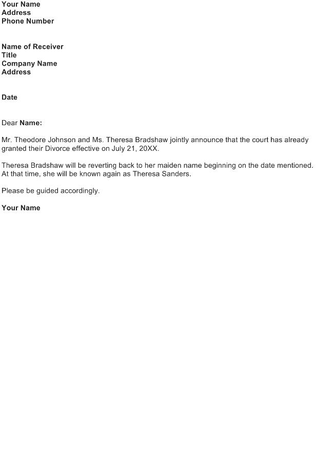 Divorce Announcement Letter