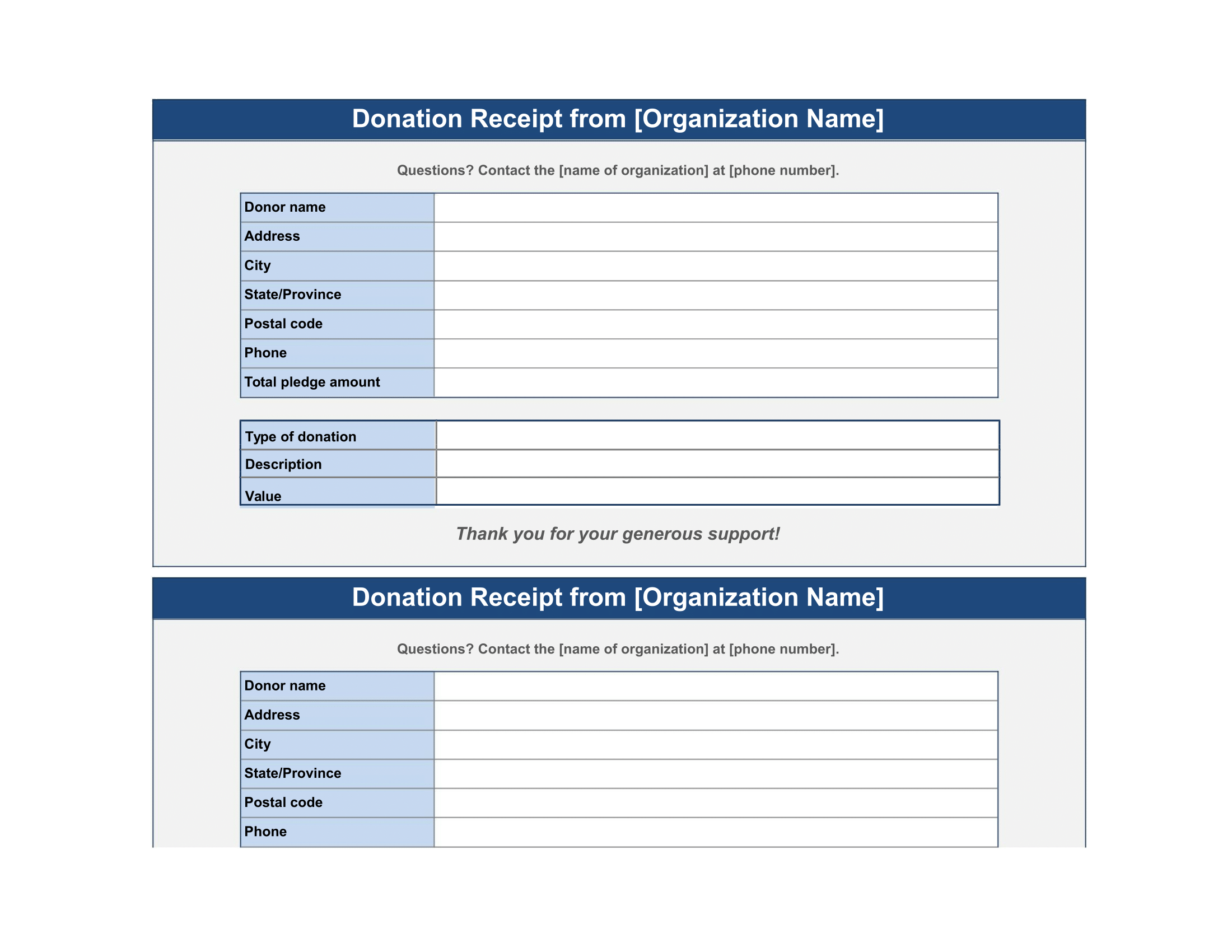 donation receipt template free download form