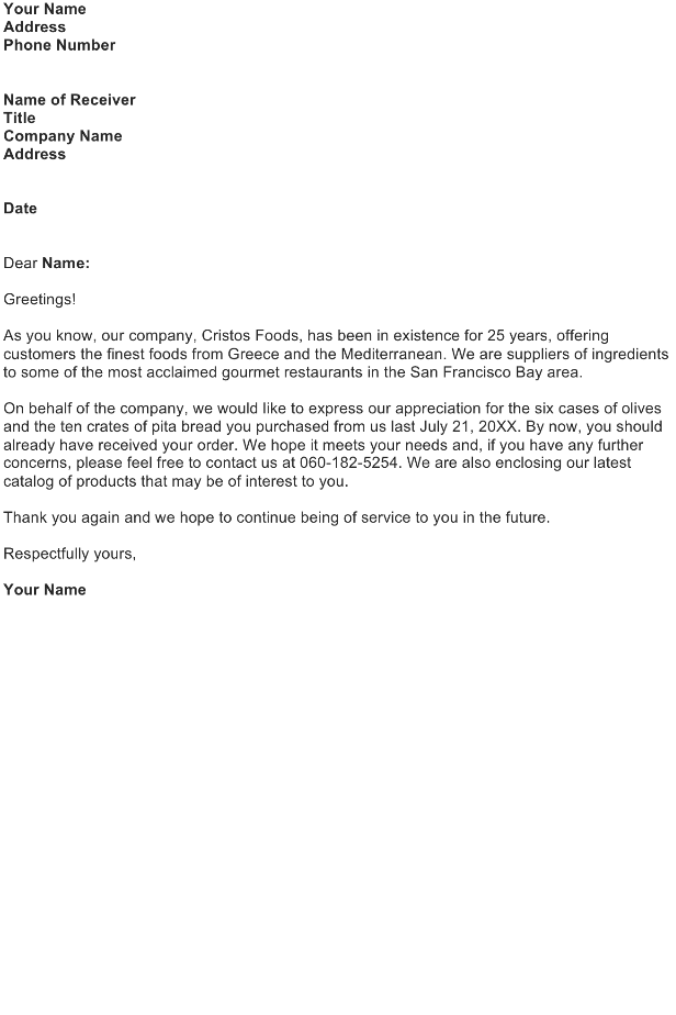 Follow-Up Letter To Thank A Customer