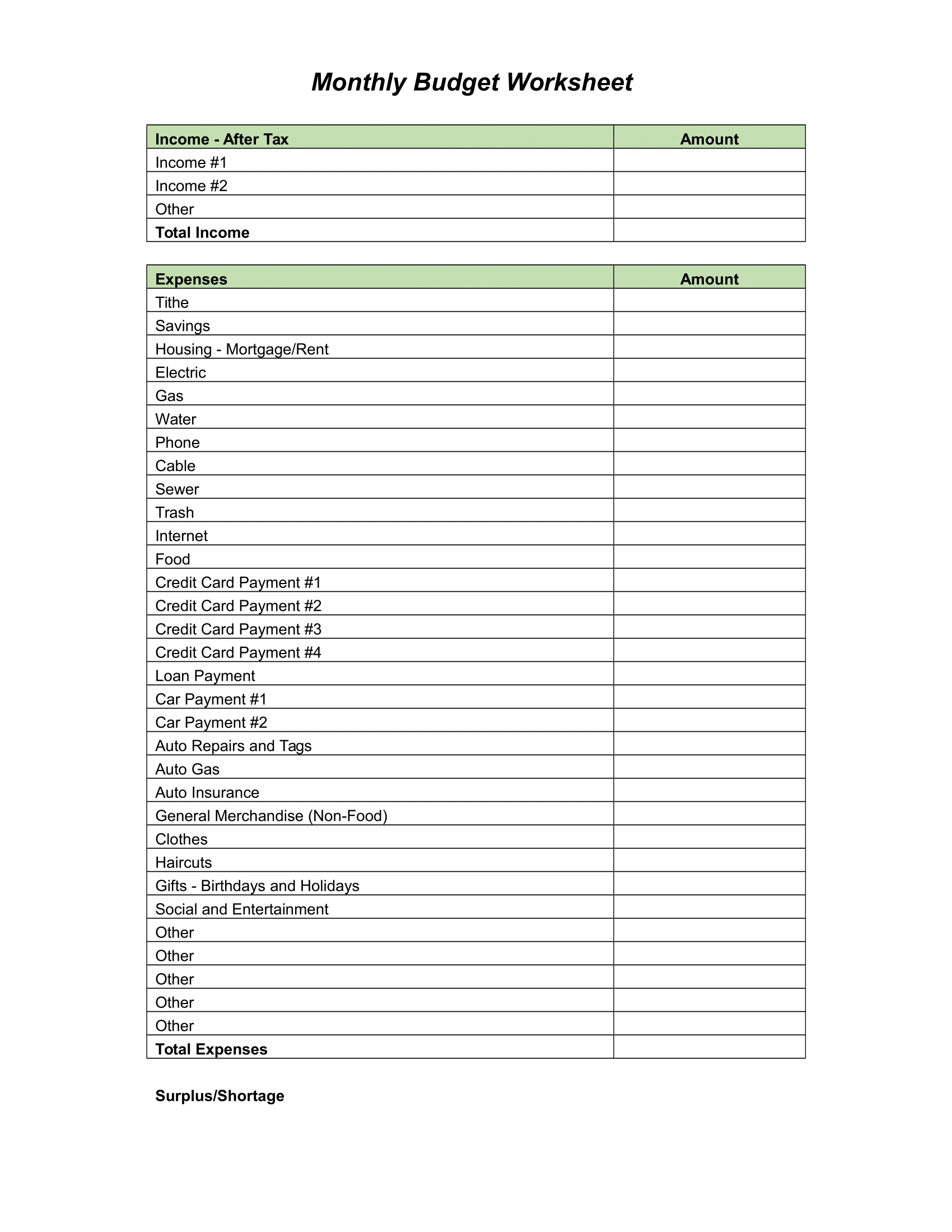 free monthly printable budget planner download in pdf or word