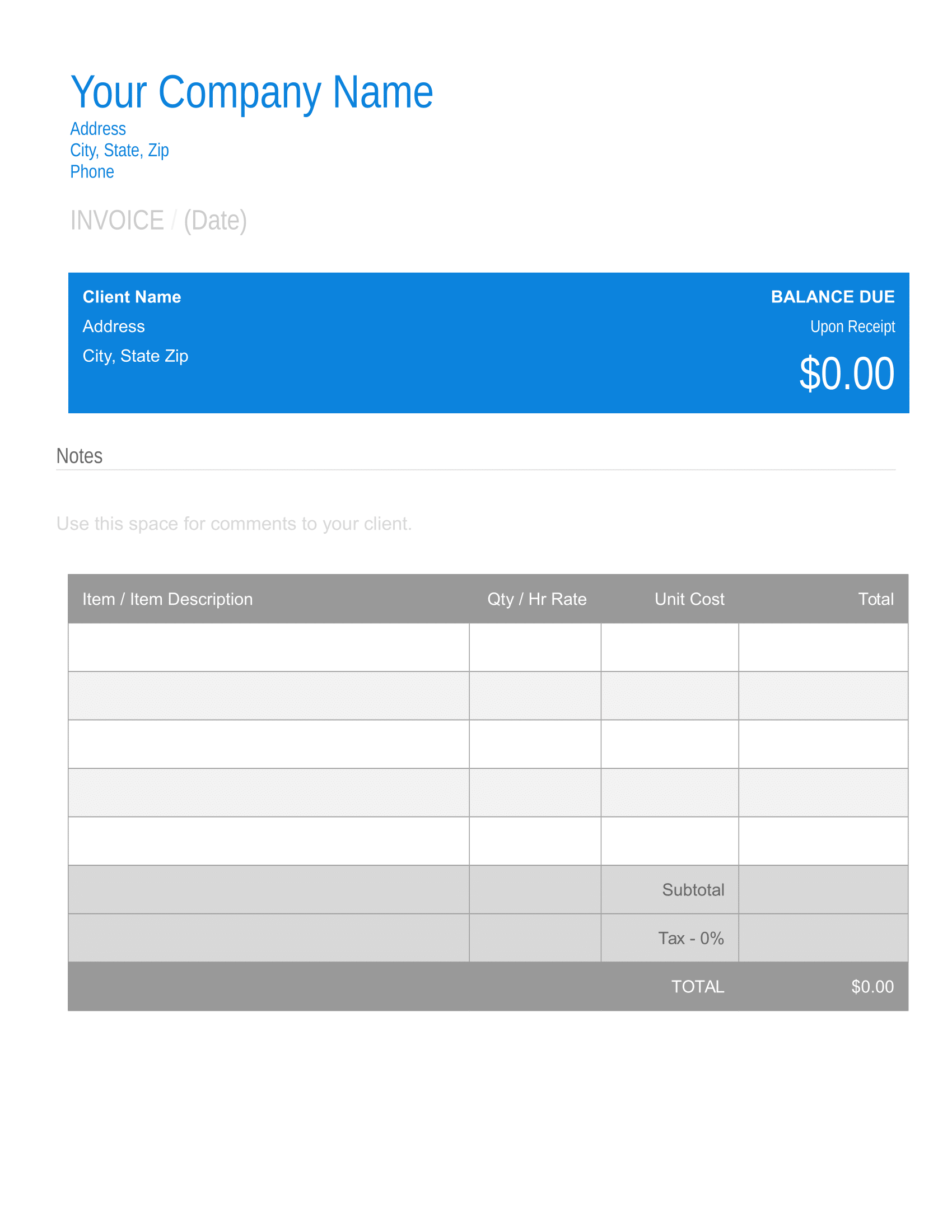 Free Printable Invoice Template Download In Pdf Or Word