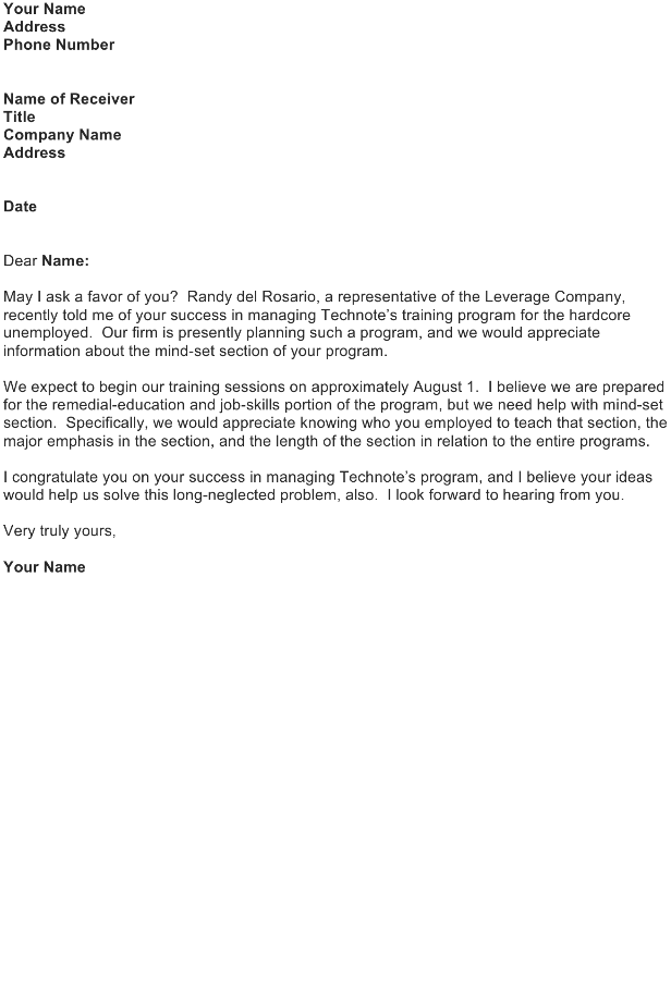 Inquiry letter - Training Program
