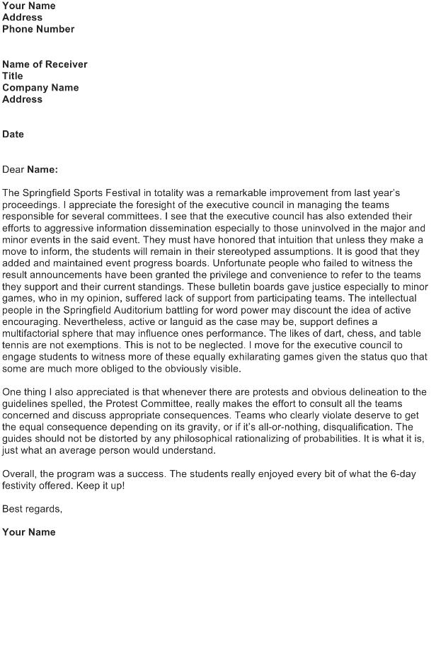 Letter Acknowledging Achievements