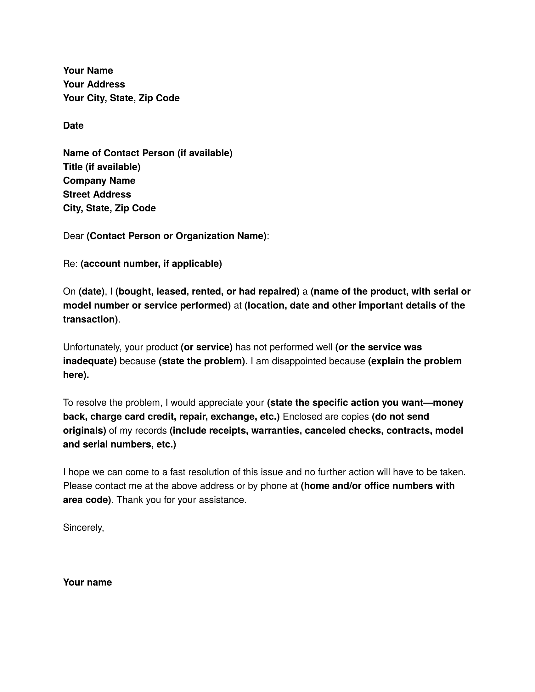 Complaint Letter Sample Download Free Business Letter Templates