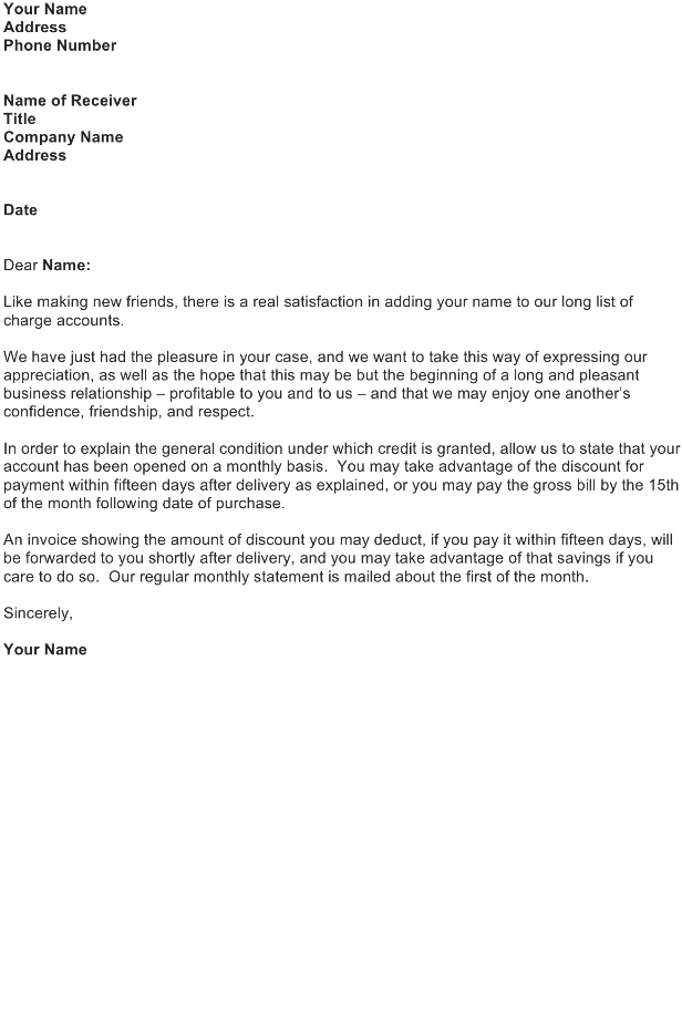 Letter Giving Credit Account to Customer