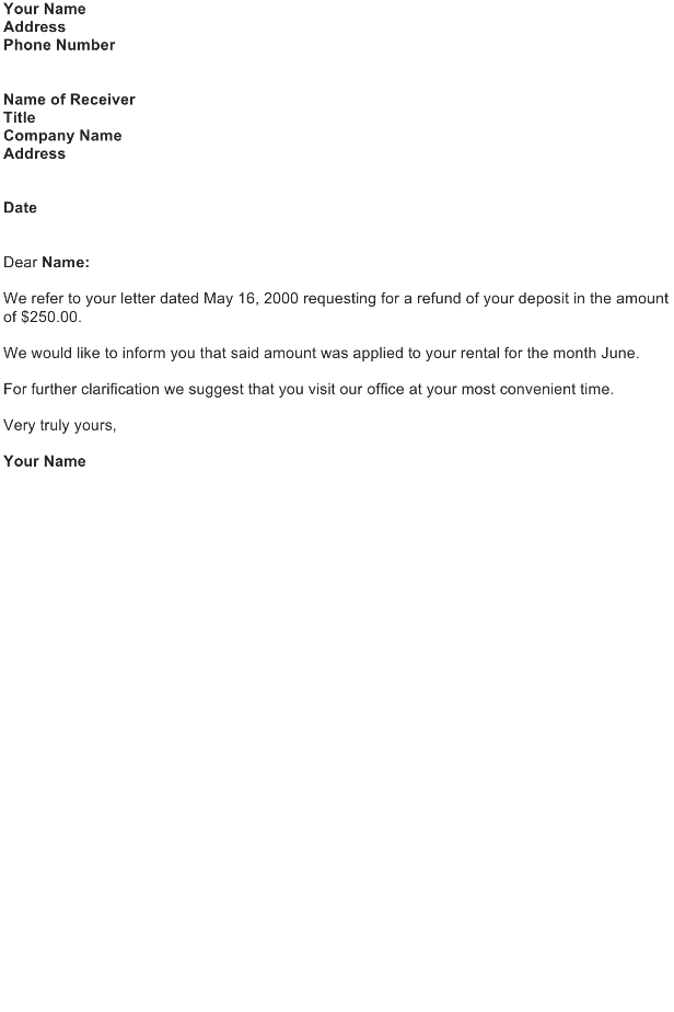 Refund Letter Sample Download Free Business Letter
