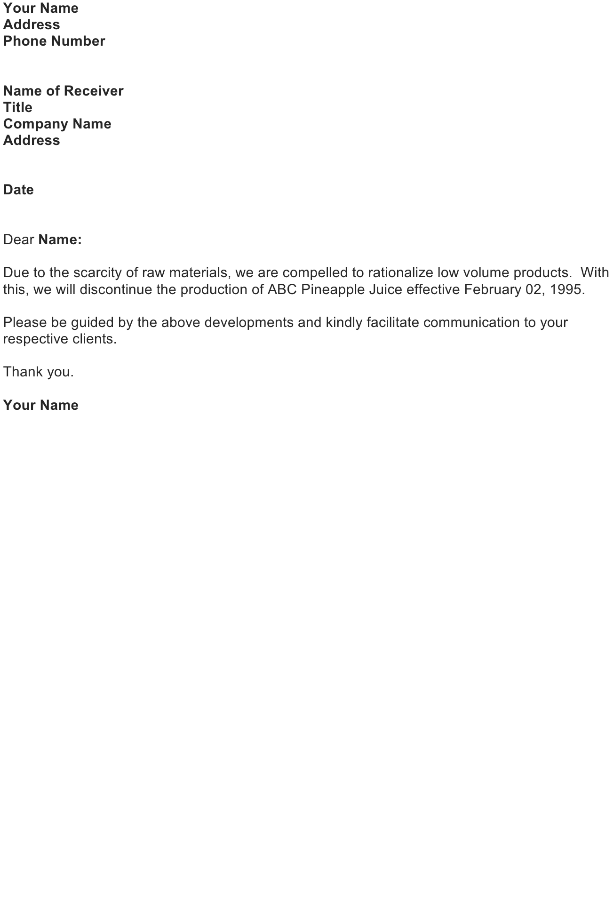 Sample Letter Of Discontinued Service from officewriting.com
