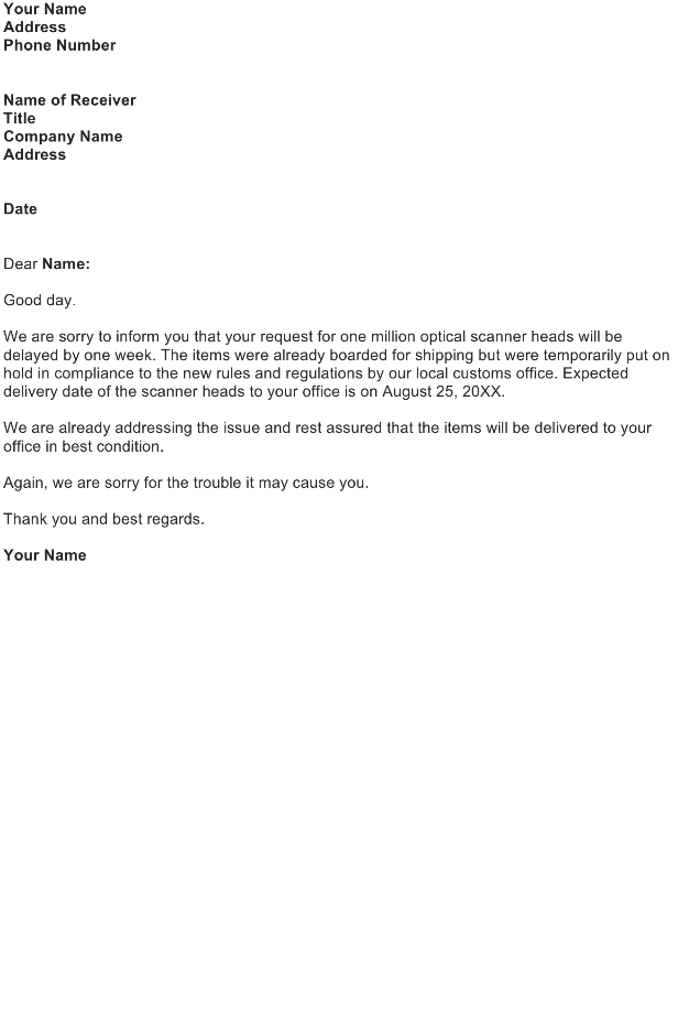 Notify Customer On Delayed Shipment
