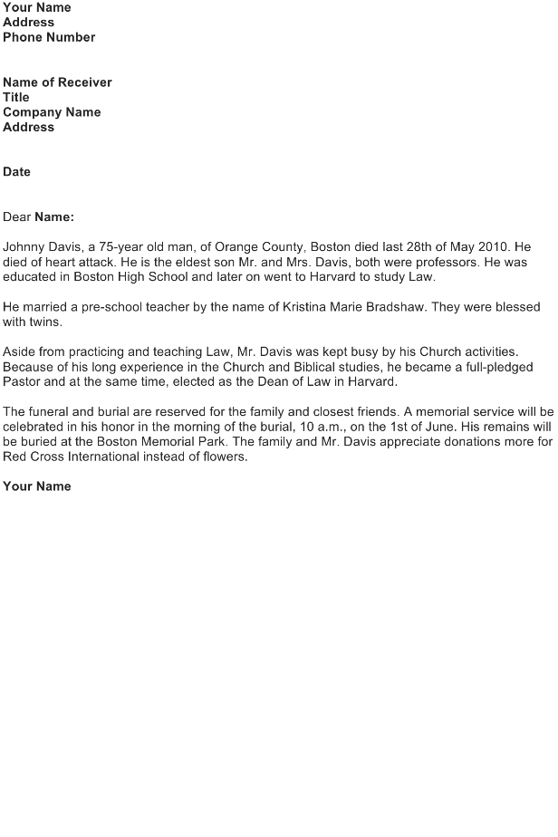 Obituary for Family Member Announcement