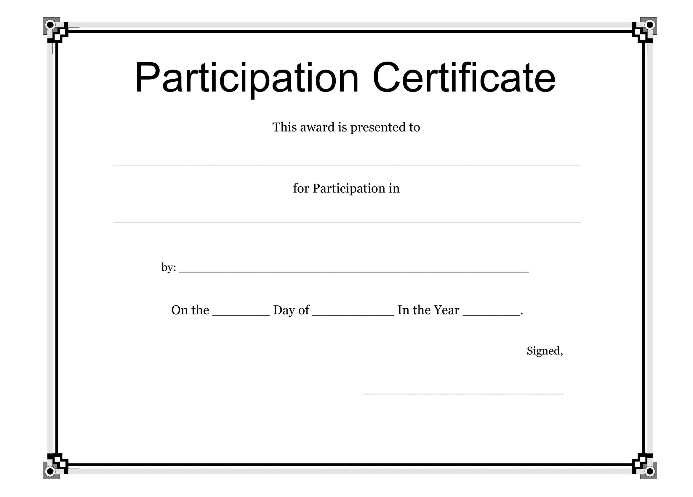 Participation certificate template free download for Certificate templates for word free downloads