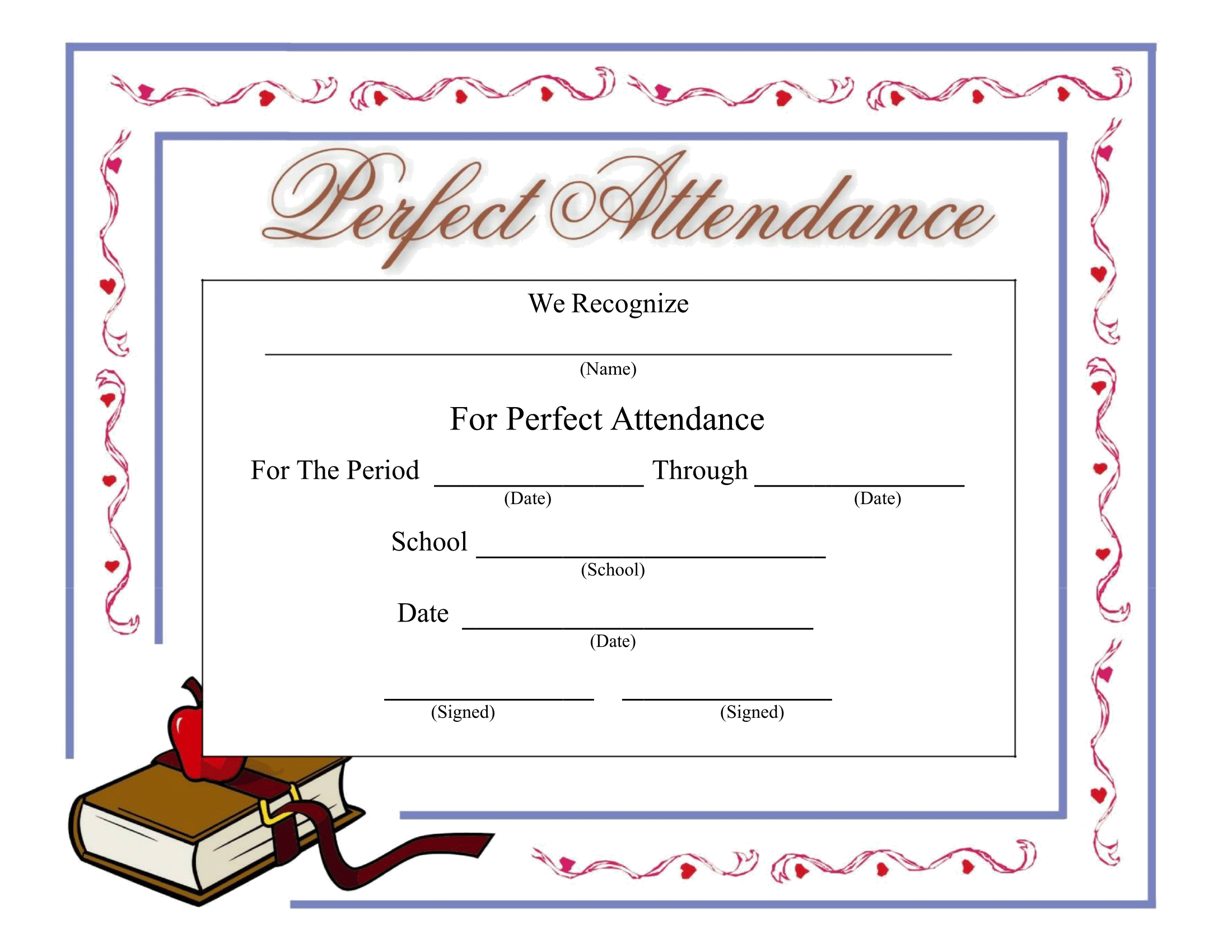 Perfect Attendance Certificate - Download a FREE Template