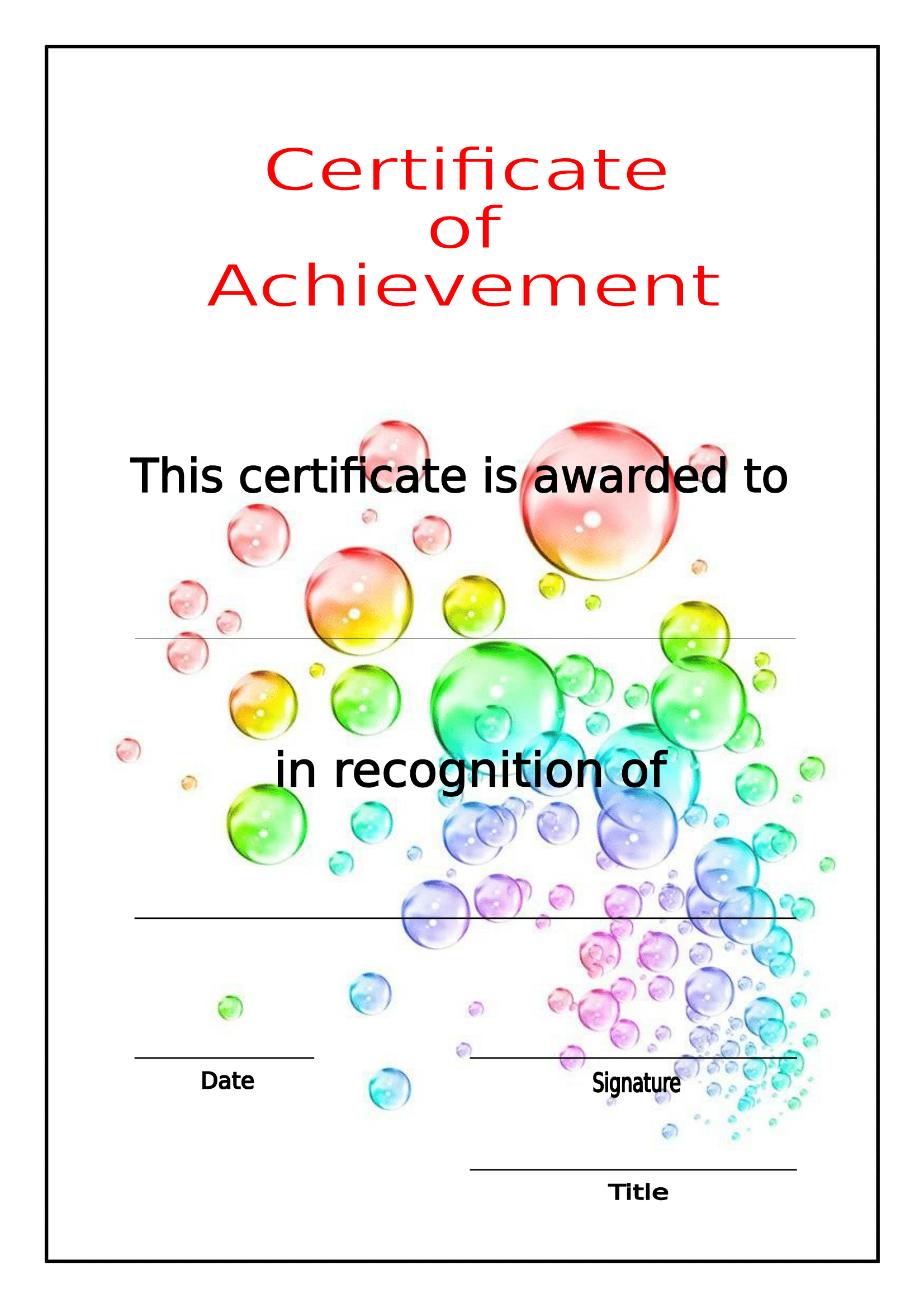 Free printable certificates of achievement.