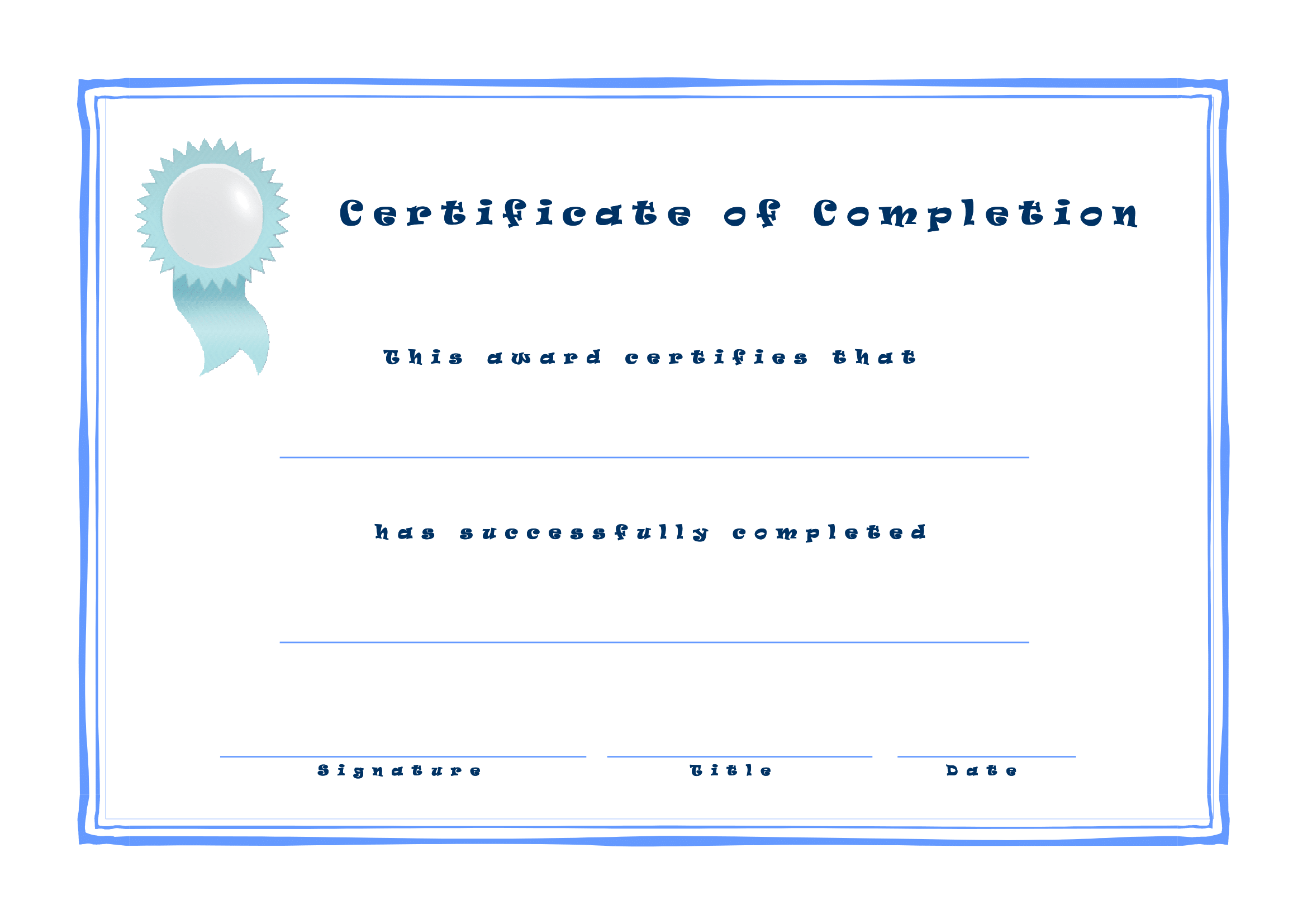 Printable Certificate Of Completion Free Download Template