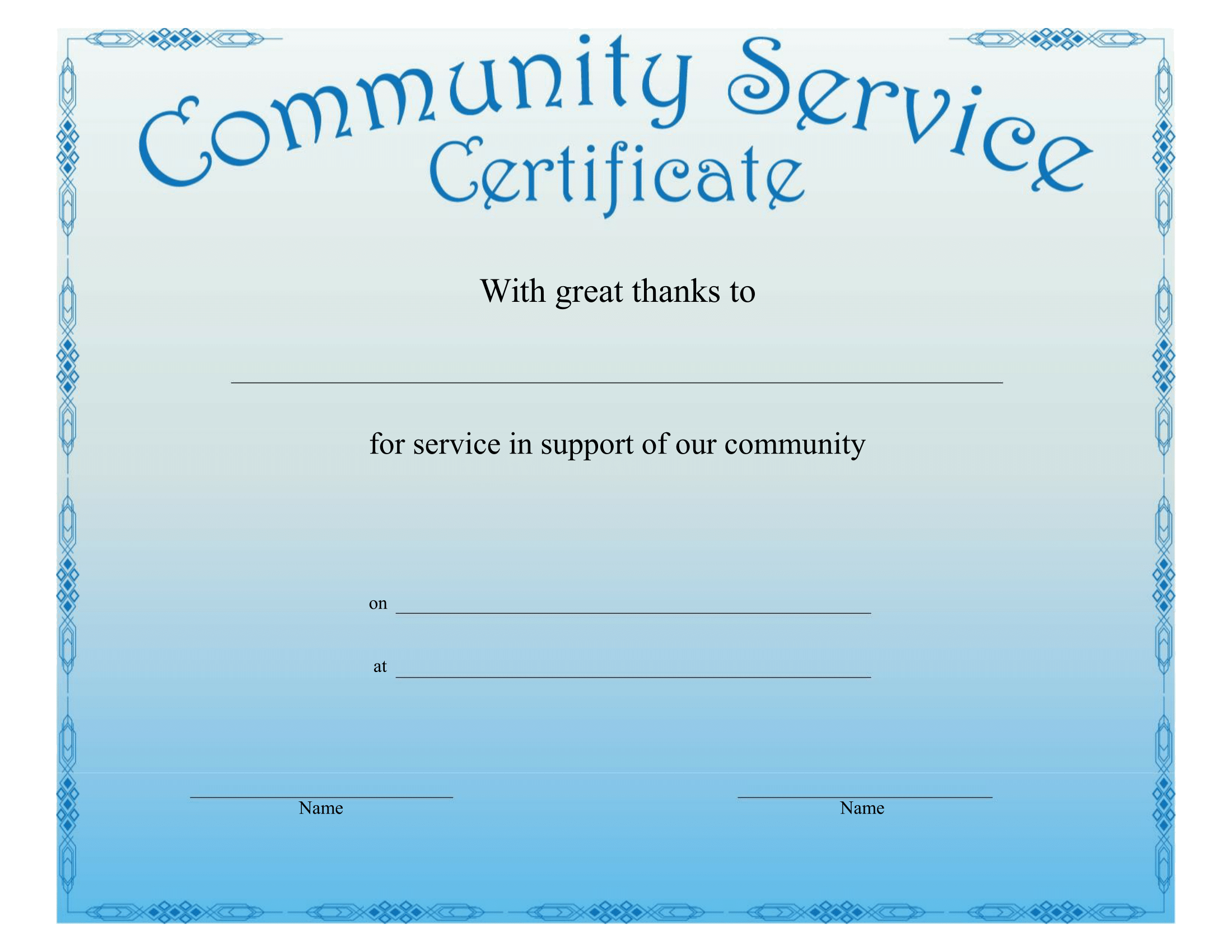 printable community service certificate free download