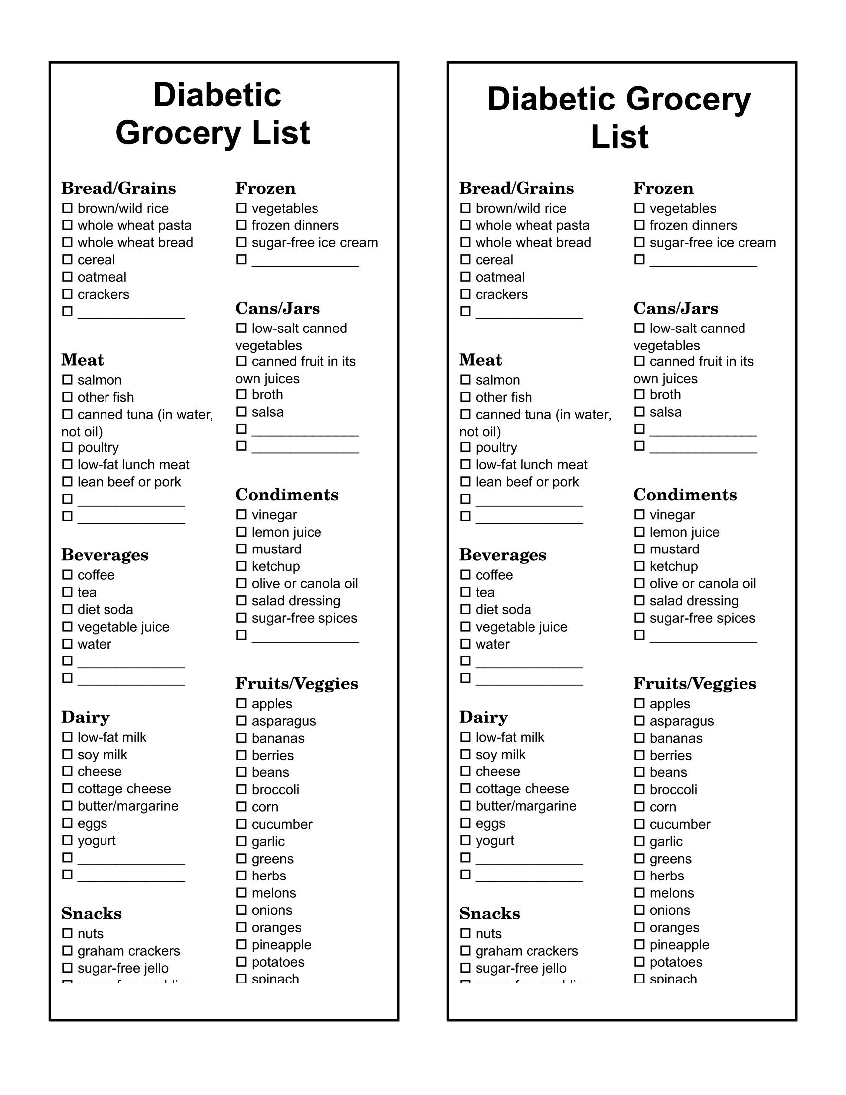 type a diet food list pdf