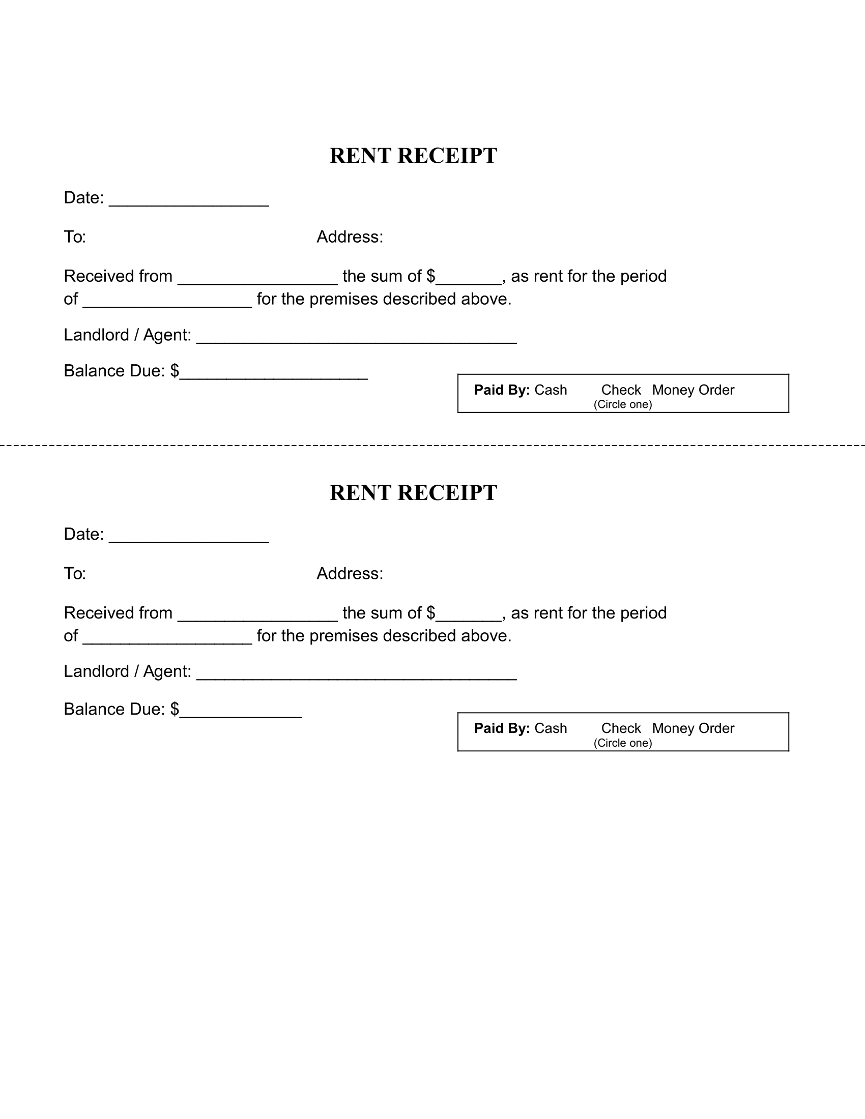 Printable Rent Receipt Template Free Download