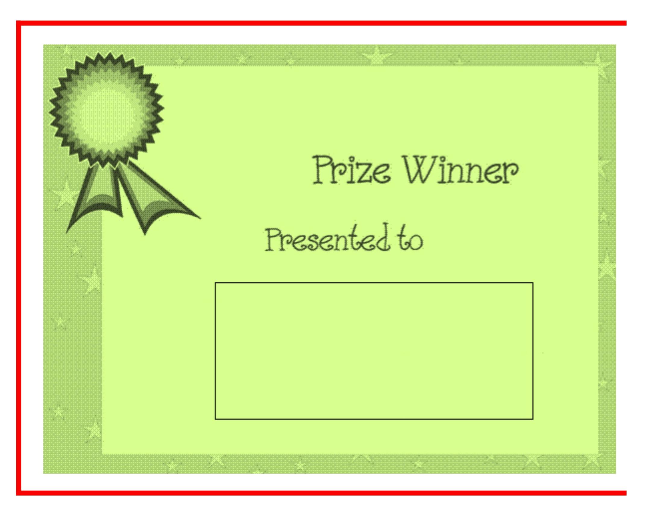Prize Winner Certificate – FREE Download Template