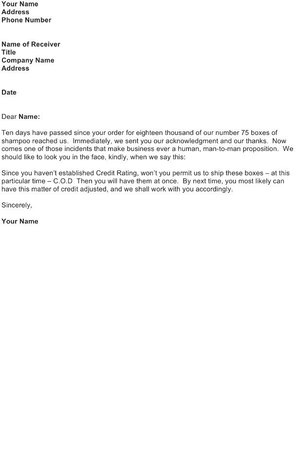 refusal credit letter sample