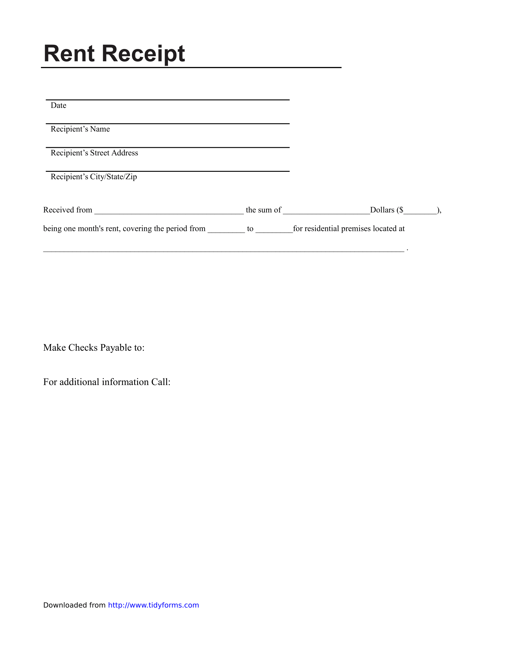 Rent Receipt Template Sample U2013 FREE Download  Download Rent Receipt Format