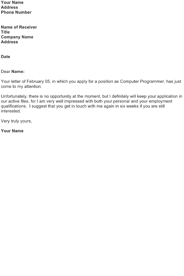 Reply Letter Sample to Application Letter