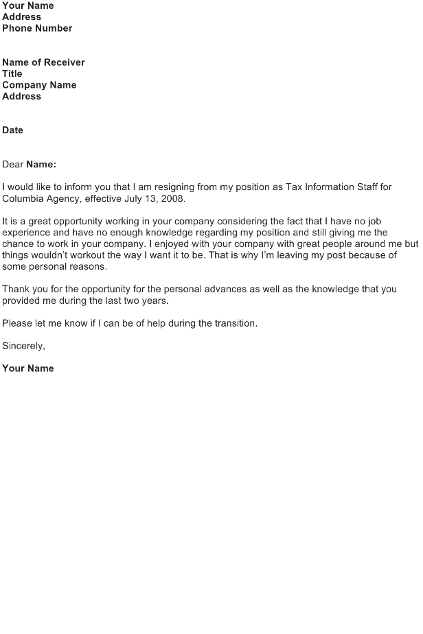 Sample Of Resignation Letter With Immediate Effect from officewriting.com