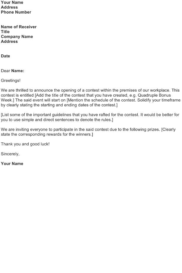 Sales Contest Announcement Letter