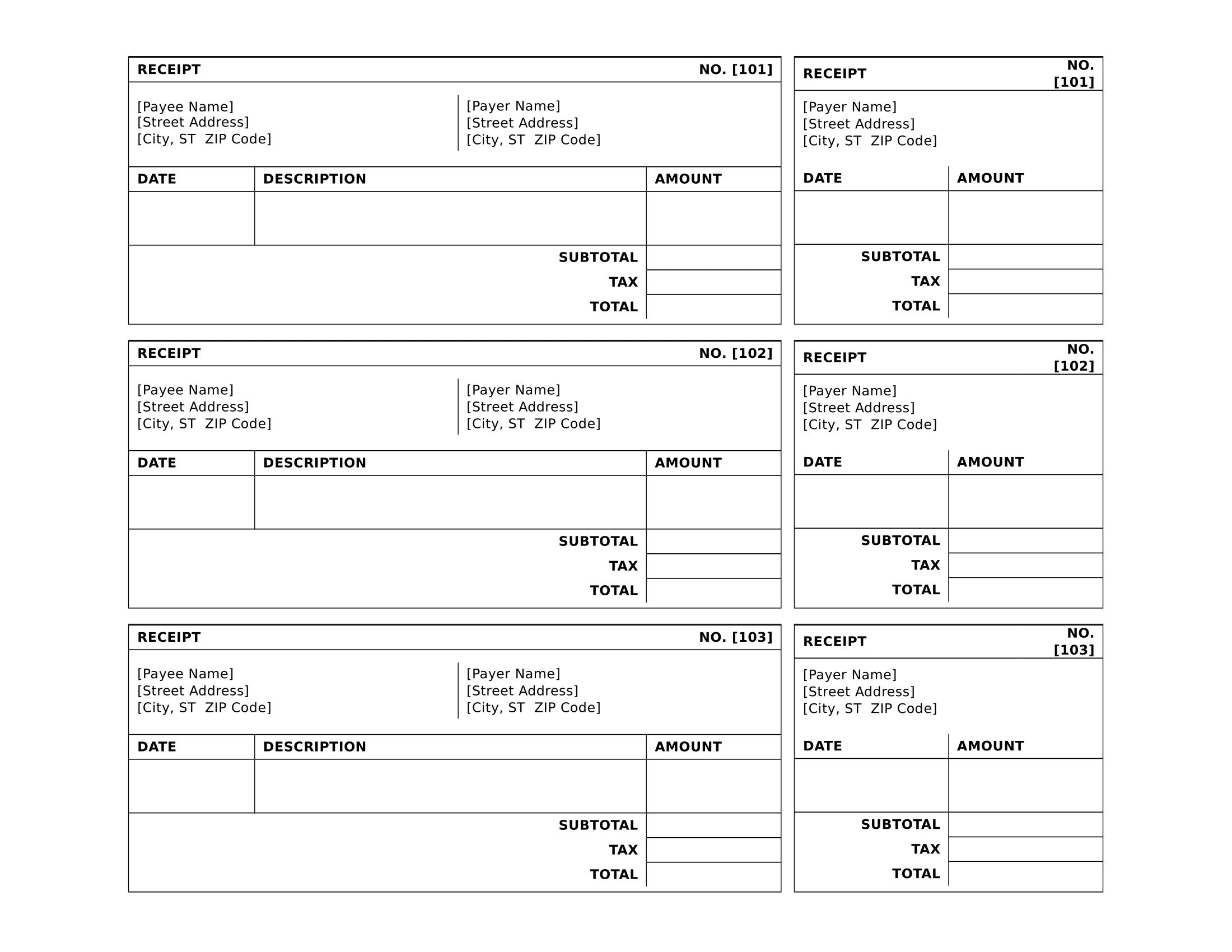sample sales receipt template
