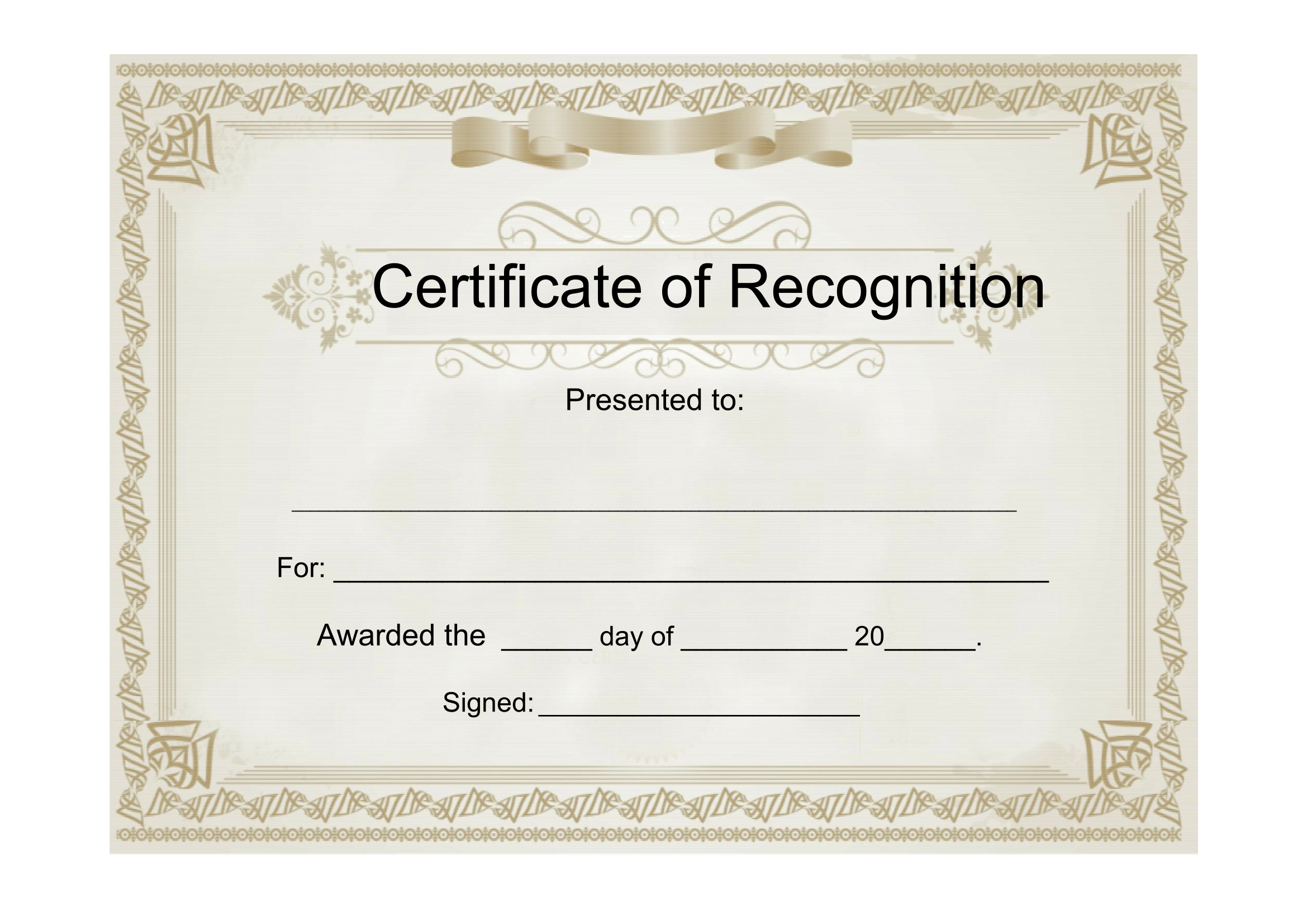 Sample Certificate Of Recognition Free Download Template