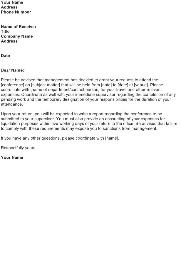 Seminar Attendance Approval Letter