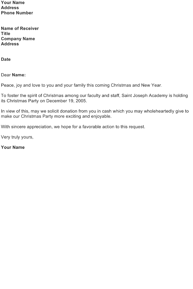 Solicitation Letter – Christmas Donation