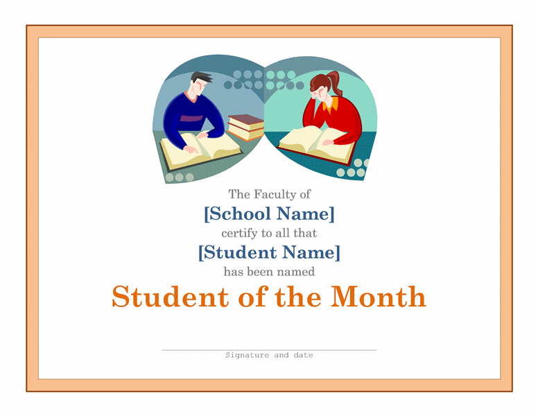 Student Of The Month Certificate Download A Free Template