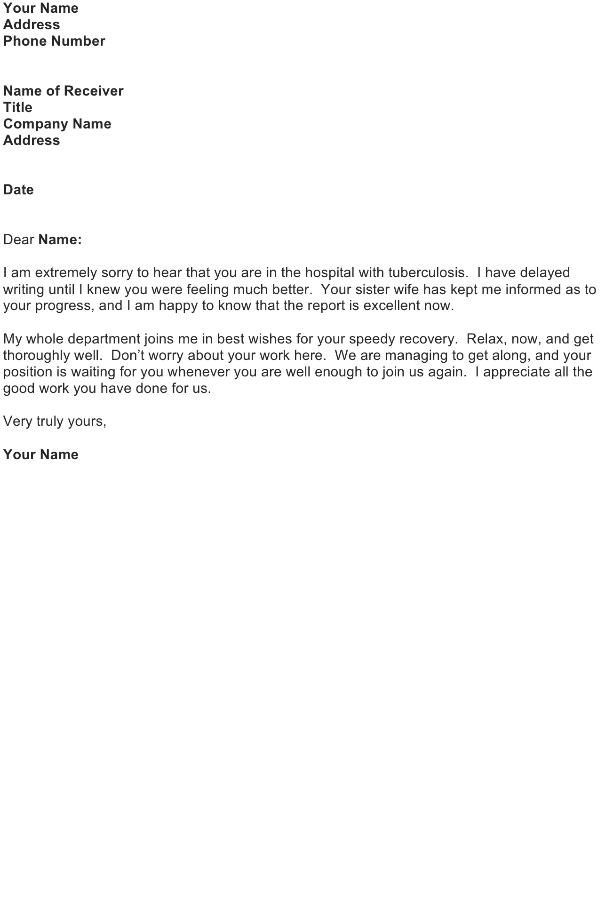 Sympathy Letter Sample – Illness / Disease