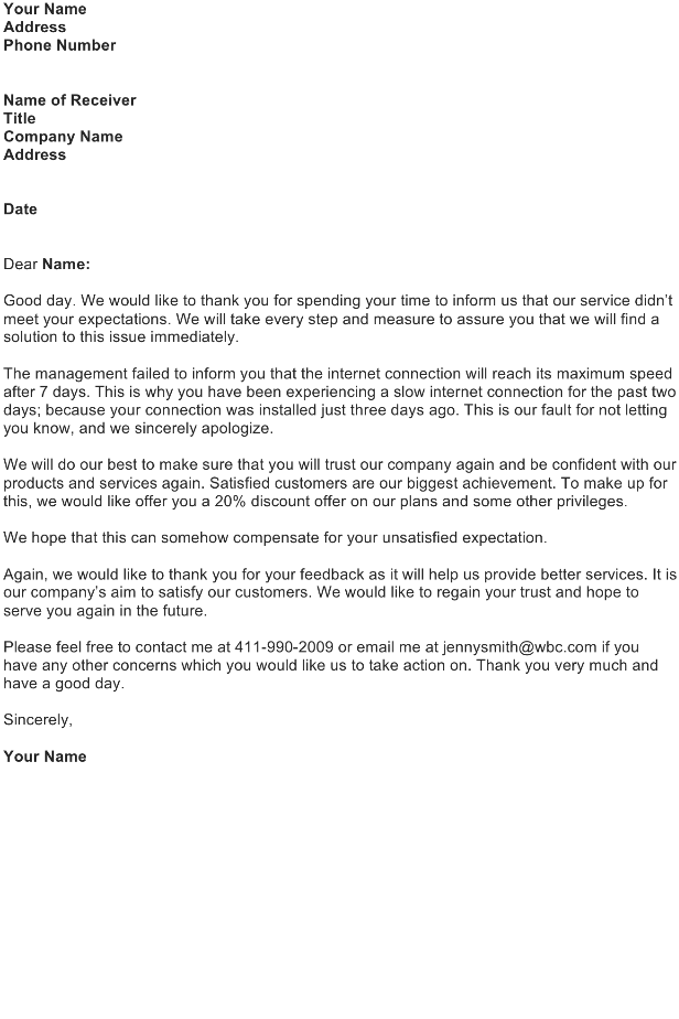 unsatisfied customer response letter