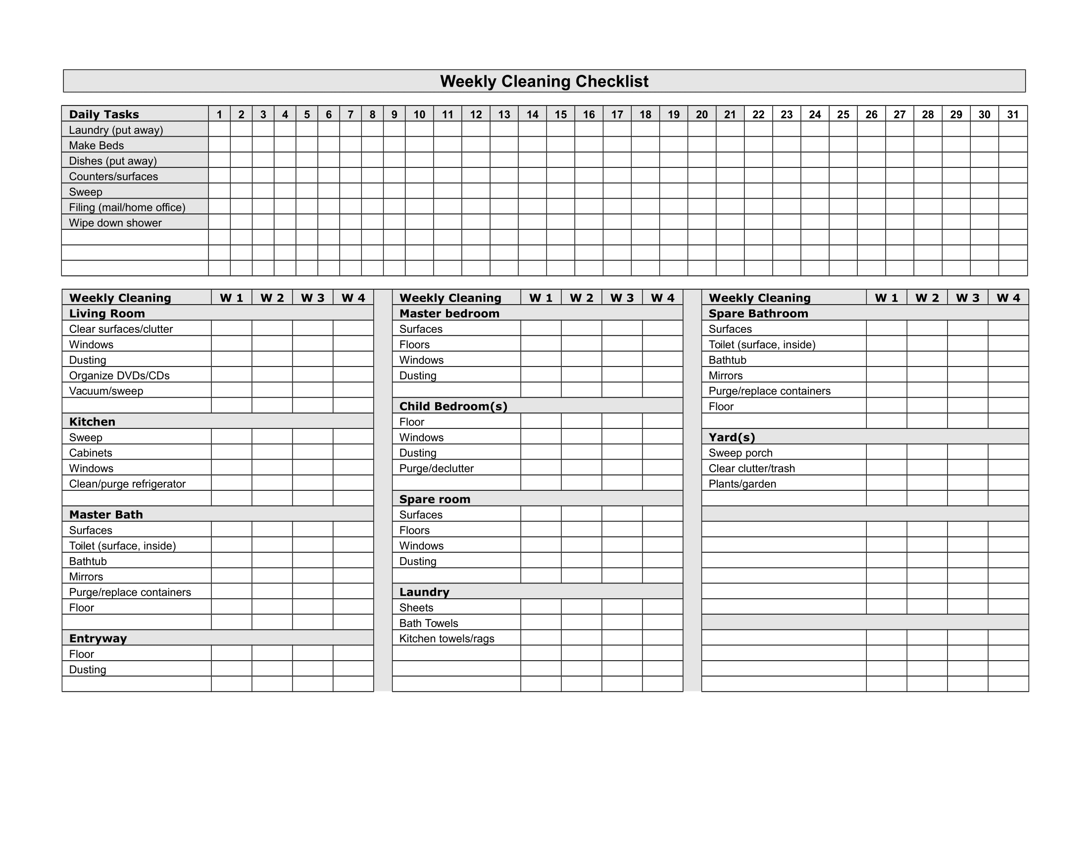 Weekly Cleaning Checklist Free Printable Template