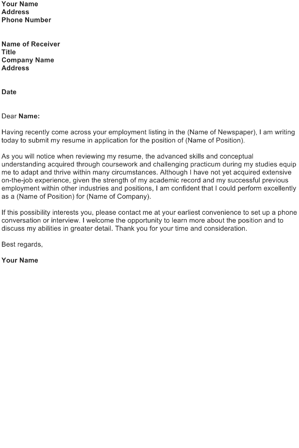 Write a Cover Letter to Introduce a Resume : Any Vacant Position