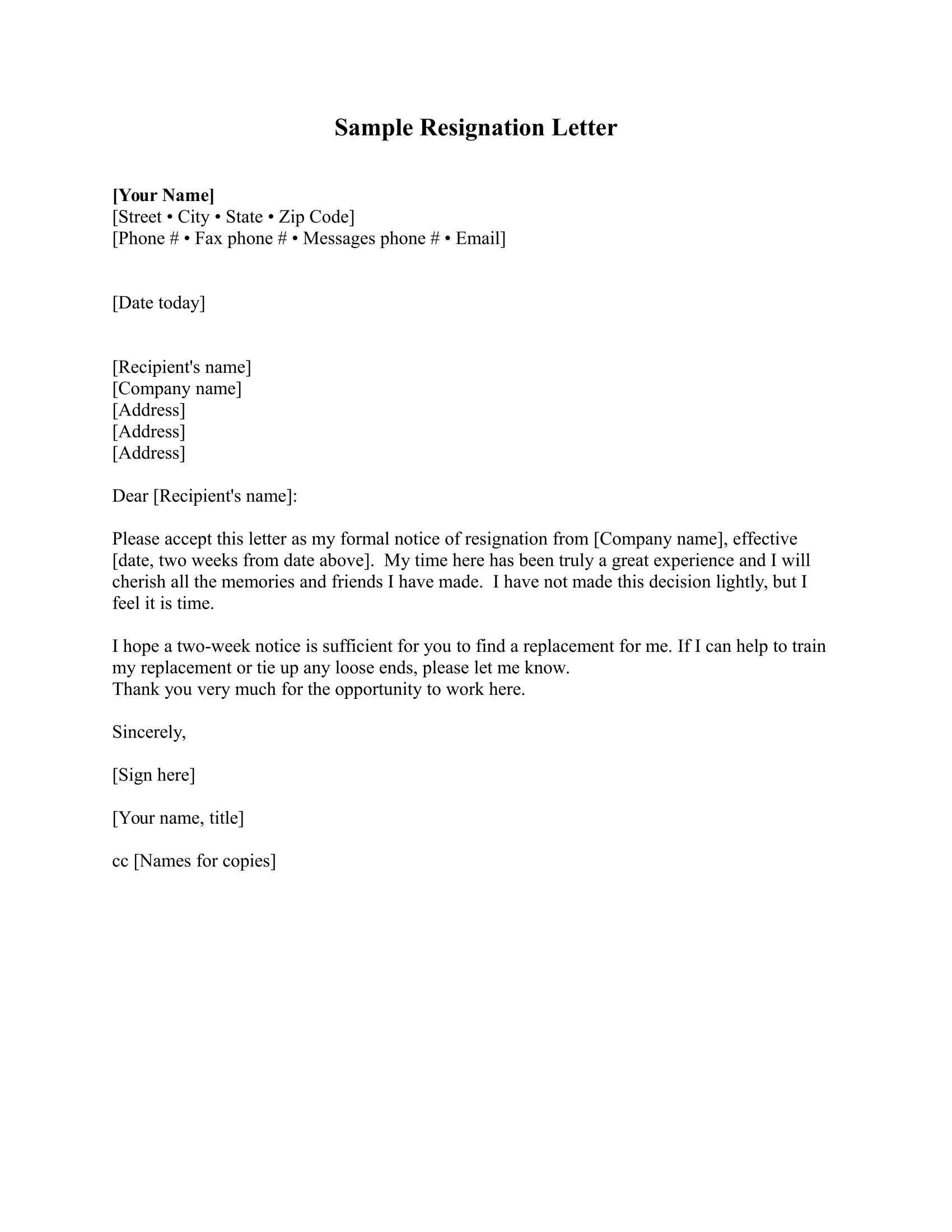 how to write a resignation letter free download template
